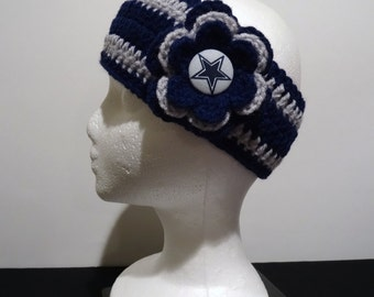 Crocheted Earwarmer in Navy and Grey made with Dallas Cowboys fabric button