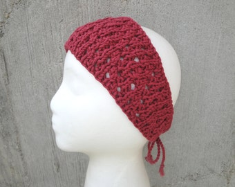 Red Lace Headband - Ties in Back, Cotton, Fashion, Lightweight, Gift for Her, Beach Retro