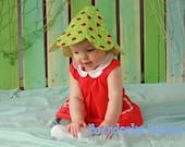 Boondocks Babies Beach Bonnet Sun hat swim hat Ladybug Newborn to 6 Months Cotton Green and Blue