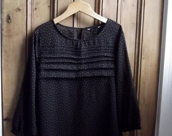 Vintage blouse  / Uk 14 US 12 / black / polka dots / pleating / sheer shirt / caramel / Dolly TopsyEtsyUK