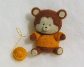 Baby Bear - Felted Bear Art Toy Felted Soft Stuffed Animal Yellow Sweater Brown Bear MADE TO ORDER