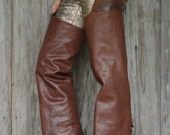 Made to Order***Leather chaps with Cobra,Italian Lambskin,Distressed,Brown,Hand stitched, Biker, Motorcycle,Cowboy