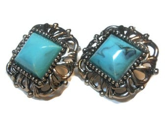 Chunky marbled faux turquoise Thermoset Earrings Victorian Revival