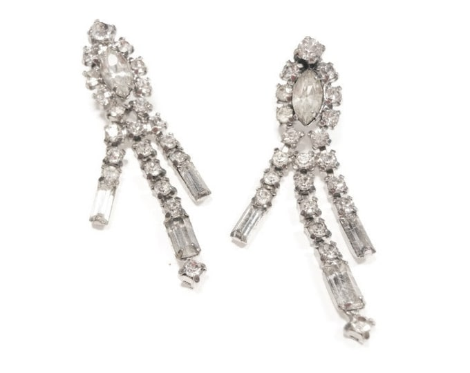 FREE SHIPPING Rhinestone dangle earrings screw back, prong set Marquise and Baguettes, Clear rhinestone dangle free swinging earrings