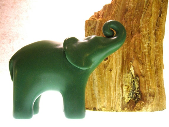 Parsley -  green small elephant sculpture polymer clay decoration hand made OOAK