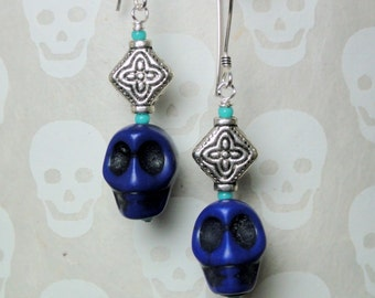 Dia de los Muertos Earrings - Purple Skull Earrings