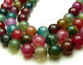 10mm Rainbow Dragon Vein Agate Round Gemstone Beads - 19pcs - Red, Green, Pink, Cranberry - BC1