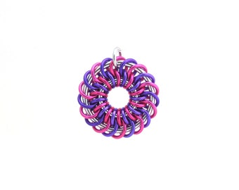 Chain Maille Pendant, Aluminum Pendant, Jump Ring Jewelry, Pink and Purple Pendant, Multicolor Jewelry