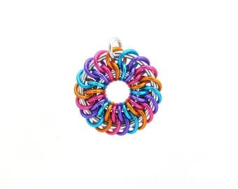Ring Pendant, Chain Maille Jewelry, Jump Ring Jewelry, Multicolor Pendant, Spiral Pendant, Handmade Jewelry