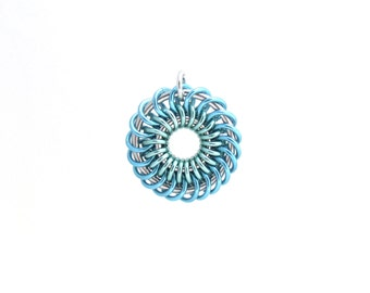 Pastel Pendant, Multicolor Chain Maille Jewelry, Jump Rings, Spiral Pendant, Blue and Green