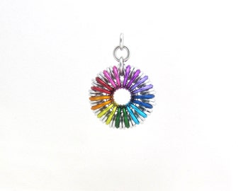 Rainbow Pendant, Chainmaille Jewelry, Colored Jump Ring Jewelry, Multicolor Chainmaille Pendant