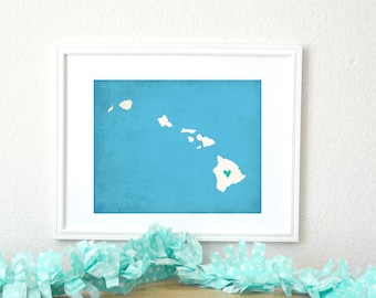 Hawaii Silhouette State Art Map Personalized Print