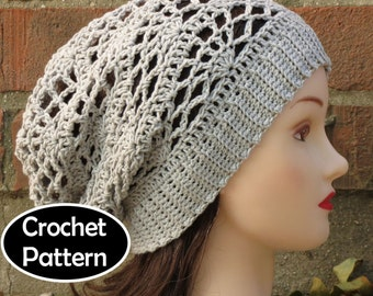 CROCHET HAT PATTERN Instant Download - Arachne Slouchy Beanie Hat Lacy Teen Women Fall Winter - Permission to Sell English Only
