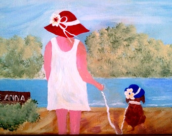 "Painting ""Mrs. C and Coco at the Lake""  9x12"" Original"