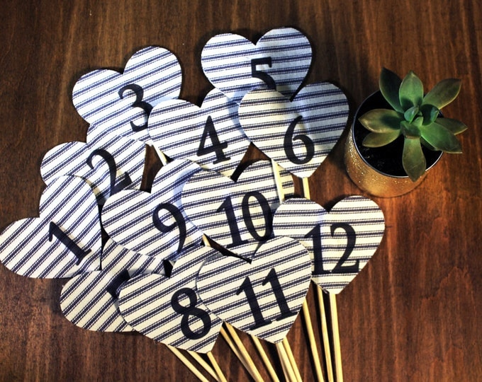 Heart Table Numbers, Set of 1 to 12. Navy Striped Fabric Heart. Rustic or Nautical Wedding Decor, Beach Wedding Style.