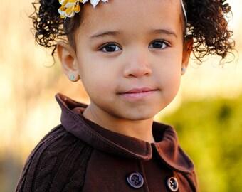 Mustard Yellow & Cream Chevron Headband - Newborn Infant Baby Toddler Girls Adult Wedding