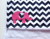 Chevron Elephant Blanket With Monogram, Chevron Elephant Blanket, Monogrammed Chevron Blanket