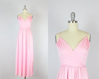 vintage 70s draped maxi dress / 1970s pink maxi dress / pink grecian dress / slinky 70s dress