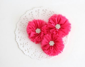 """3 pcs - HOT PINK Shabby Flowers with rhinestone buttons - Chiffon Frayed Flower - Fabric Flower - 2.4"""" Flowers - Wholesale Fabric Flower"""