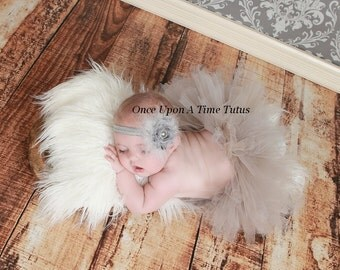 Gray Shabby Flower Feather Headband With Pearl Rhinestone Center - Perfect Newborn Baby Girl Photo Prop - Silver Shade Wedding Bow
