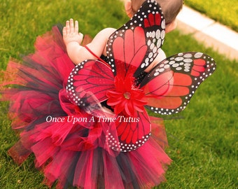 Red Monarch Butterfly Wings - Butterfly Costume - Fairy Halloween Costume Accessory - Little Girls or Toddler Wearable Wings