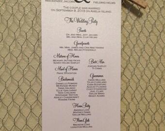 Custom Wedding Program, Tea Length &