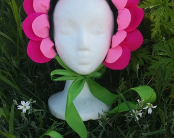 Flower Headpiece - Pink Felt - Flower Costume - Flower Crown -Alice in Wonderland - Flower Fairy