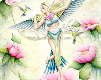 Bird Fairy Art Print - Fantasy Hummingbird - Rose Painting - Green Garden Fairy Illustration - Sarah Alden