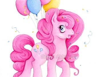 My Little Pony Art Pinkie Pie Print MLP Nursery Illustration - Sarah Alden