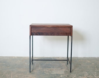 Night Stand- Side Table Black Walnut and Steel Base