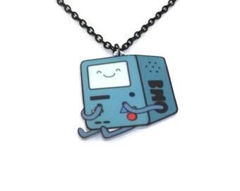BMO Necklace, Adventure Time, Beemo, Cute Kawaii Laser Cut Necklace