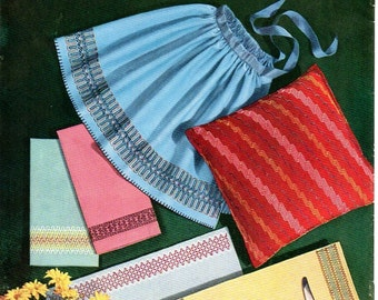 1950s Coats & Clark's Modern Trends Crochet Knitting Sewing Pattern Booklet Instruction Book Pillows Lamp Shades Curtains Door Mat