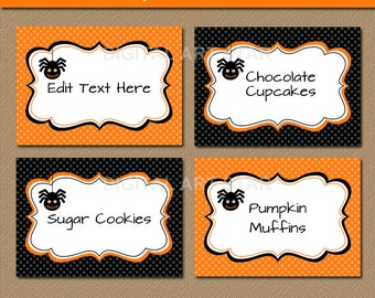 Halloween DIY Food Labels, Printable Food Tags, Halloween Tent cards, Candy Tags - Orange and Black Spider Labels - INSTANT - DIY Party