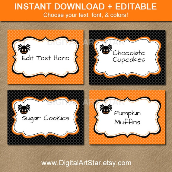 Halloween Pumpkin Party Food Labels | Pumpkin Halloween ... |Halloween Party Food Labels