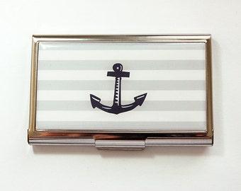 Business Card Case, Nautical, Anchor, Card case, business card holder, Card case for her, Nautical card case, gray, white, navy (4181)
