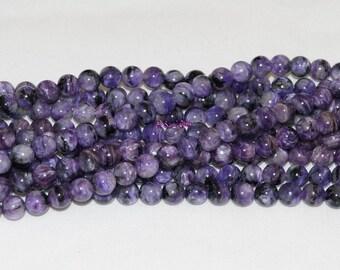 """Natural Charoite 6mm Round Gemstone Beads AA - 15.75"""" Strand"""