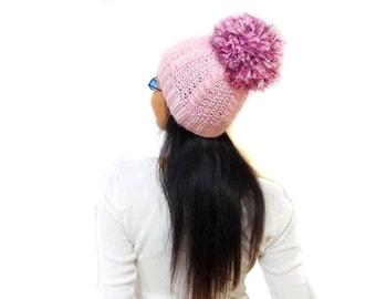 Pink Slouchy Cable Knit Hat, Soft big pom pom hat beanie