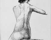 "Life Drawing Figure Study Female Nude pen and ink 10X8"" Matted 14X11"" No.145"