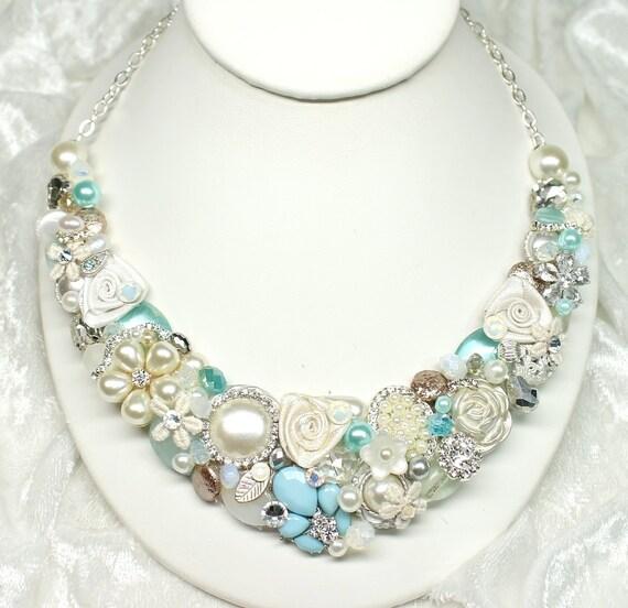 Aqua Blue Statement Necklace-Sea Glass Bib-Aqua Bib Necklace- Pearl necklace-Bridal Bib Necklace-Blue Statement necklace-Mint Blue Necklace