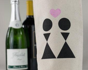 Wine Tote - Recycled Cotton Canvas - Bride & Bride Wedding - Reusable Wine Bag
