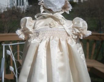Ivory Satin Hand Smocked Dress with Bonnet