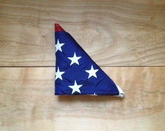 Vintage American Flag - Nylon Embroidered Stars Stripes 32x60