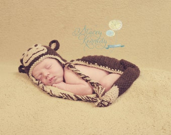Crocheted Brown Monkey Hat and Body Cover Set Newborn Photo Prop