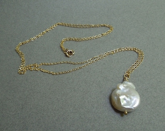 Large Coin Pearl Pendant Necklace- Long Gold Filled Chain- June Birthstone