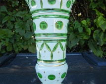 """Bohemian Vase White Cased Glass Cut to Green Vase Large 8"""" Art Glass Vase with Gold Trim"""