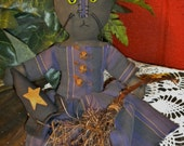 Cat Witch Doll, Dolls, Halloween Decorations, Primitive Country Decor,