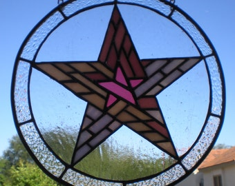 Star in a Star Stained Glass Panel