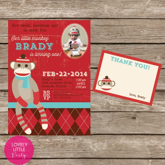 DIY Printable Vintage Sock Monkey Birthday Invitation Kit - Invite AND Thank You Card included