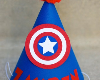 Captain America Inspired Birthday Party Hat  - Personalized for birthday child