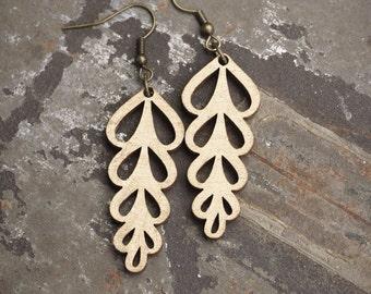 Leaf Laser Cut Wood Earrings - Gold